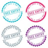 Free entry badge isolated on white background. Flat style round label with text. Circular emblem vector illustration Royalty Free Stock Image