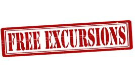 Free excursion. Stamp with text free excursion inside,  illustration Stock Images