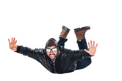 Free falling happy pilot Stock Image