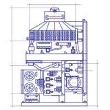 Free fantasy drawing of a refrigerating machine. Free fantasy drawing of a refrigerating machine Royalty Free Stock Photo