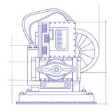 Free fantasy drawing of a refrigerating machine. Free fantasy drawing of a refrigerating machine Stock Photography