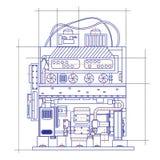 Free fantasy drawing of a refrigerating machine. Free fantasy drawing of a refrigerating machine Stock Photo