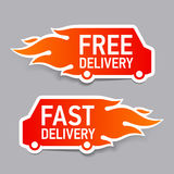 Free and fast delivery labels Stock Images