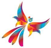 Free flight of fantastic birds. Vector illustration Stock Photo