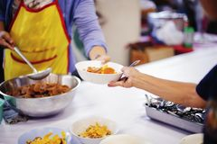 Free food for the poor and Food distribution.  royalty free stock photos