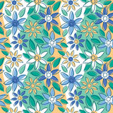 Free-Form Floral Summer. Vector seamless floral pattern in summertime colors Royalty Free Stock Images
