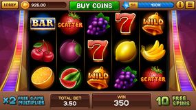 Free games screen for slots game stock illustration