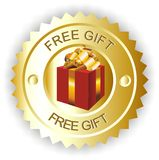 Free gift. Sign gold label with box inside Stock Photo