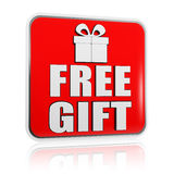 Free gift banner with present box symbol Royalty Free Stock Photos