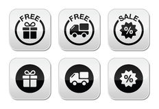 Free gift, free delivery, sale buttons set Stock Image