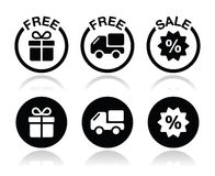 Free gift, free delivery, sale icons set Stock Photography