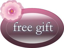 Free gift label. Pink metallic free gift tag with flower Stock Images