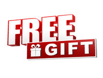 Free Gift With Present Box Symbol In Red White Banner - Letters Royalty Free Stock Photo