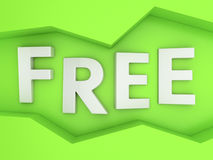 Free on green. Three-dimensional word Free in the zig-zag frame on the green wall Stock Images