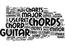 Free Guitar Chord Charts Text Background Word Cloud Concept vector illustration