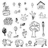 Free hand drawing of garden symbol set on white isolated Stock Photography