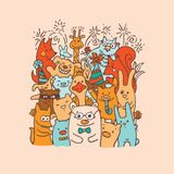 Free hand drawing of group of joyful animal friends Stock Images