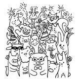 Free hand drawing of joyful animal friends Stock Images