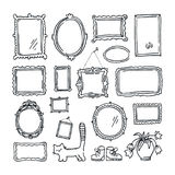 Free hand drawing of picture frames. Doodle style objects collection Royalty Free Stock Photos