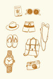 Free Hand drawn tourist travel set Royalty Free Stock Photography