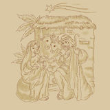 Free hand illustration of nativity of Jesus with comet Royalty Free Stock Photography