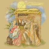 Free hand illustration of nativity of Jesus with comet Royalty Free Stock Photo