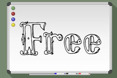 Free hand inscription. Free word inscription in vintage style on whiteboard. Vector illustration Royalty Free Stock Photo