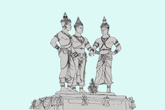 Free hand sketch drawing three`s monument in Chiangmai Thailand, Stock Image