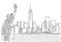 Free hand sketch of New York City Skyline with Statue of Liberty Stock Image