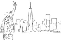 Free hand sketch of New York City skyline. Vector Scribble Stock Images