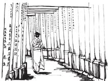 Free hand sketch World famous : Women in kimono stand at Torii gates in Fushimi Inari shrine. One of famous landmarks in Kyoto, Japan Royalty Free Stock Photos