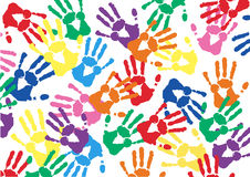 Free hands  prints colorful vector background Royalty Free Stock Image