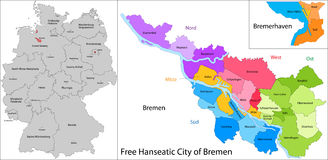 Free Hanseatic City of Bremen. Administrative division of Germany. Map of Free Hanseatic City of Bremen Royalty Free Stock Images