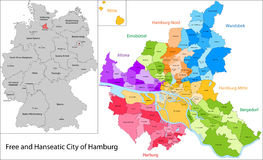 Free and Hanseatic City of Hamburg. Administrative division of Germany. Map of Hamburg Royalty Free Stock Photos