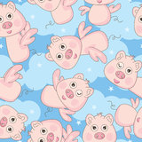 Free Happy Angle Pig Seamless Pattern_eps. Illustration of free and happy cartoon angle pig seamless pattern flying on blue sky background Stock Photography