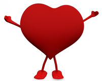 Free and Happy heart character. Stock Images