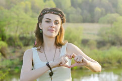Free Happy Woman Enjoying Nature. Beauty Girl Outdoor. Freedom c Royalty Free Stock Photos