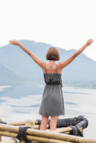 Free Happy Woman Enjoying Nature. Beauty Girl Outdoor. Freedom concept. Beauty Girl over Sky and Sun. Sunbeams stock photos