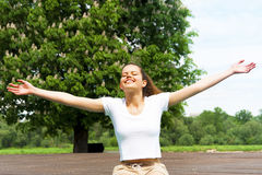 Free Happy Woman Enjoying Nature. Beauty Girl Outdoor. Stock Image
