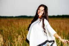 Free Happy Woman Enjoying Nature and Freedom. Beauty Girl Outdoo Royalty Free Stock Photos