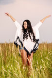 Free Happy Woman Enjoying Nature and Freedom. Beauty Girl Outdoo Stock Photo