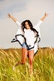 Free Happy Woman Enjoying Nature and Freedom. Beauty Girl Outdoo Stock Photos