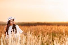 Free Happy Woman Enjoying Nature and Freedom. Beauty Girl Outdoo. R Royalty Free Stock Photo