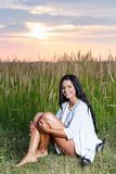Free Happy Woman Enjoying Nature and Freedom. Beauty Girl Outdoo Stock Photography