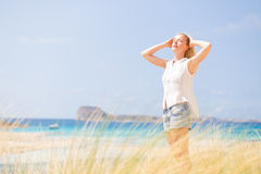 Free Happy Woman Enjoying Sun on Vacations. Royalty Free Stock Photos