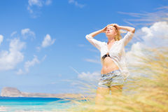 Free Happy Woman Enjoying Sun on Vacations. Stock Photos