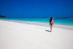Free Happy Woman Enjoying tropical beach, girl walking on exotic Stock Image