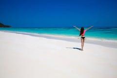 Free Happy Woman Enjoying tropical beach nature. Wellness. Trave Stock Image