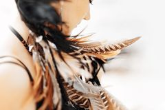 Cloe up portrait of beautiful stylish woman with feathers in hai. Free and happy young woman boho style with feathers Royalty Free Stock Photography