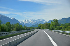 Free highway to garmisch in the bavarian alps, zugspitze mountai Stock Images
